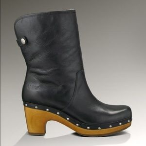 UGG Lynnea Leather Black Leather Winter Boots